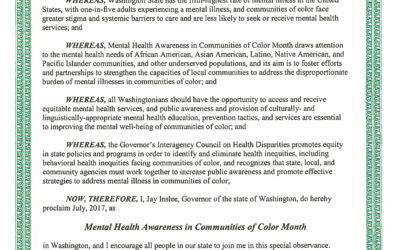 Mental Health Awareness in Communities of Color Month 2017